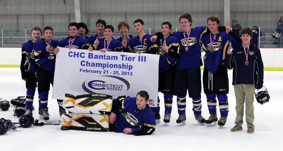 The Northwestern Connecticut Icehawks Bantam A hockey team captured the Tier III state championship with a 4-2 victory over the New Canaan Winter Club on Feb. 25 at the Newington Ice Arena. The team includes Justin Thompson (New Milford), Griffon McIntyre (Litchfield), Avery Hook (New Milford), Isaac Purdy (Bridgewater), David DeMeo (New Preston), Griffin Smith (Woodbury), Jack Sommerfeld (Brookfield), captain Brian Manzer (Southbury), assistant captain Payton Meyer (New Milford), Jack Kennedy (Roxbury), assistant captain Riley Zimmerman (New Milford), Max Ryan (Woodbury) and goalie Connor Lautier (New Preston). The Icehawks will represent Connecticut at the New England Sectional Championships this weekend in Burlington, Vt. Photo: Contributed Photo / The News-Times Contributed
