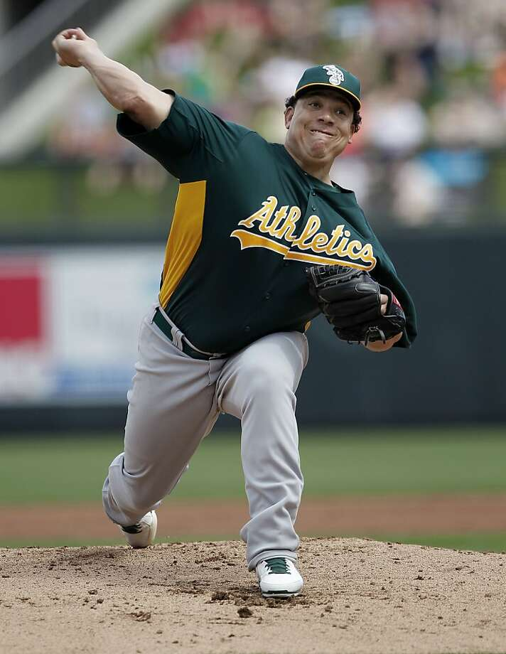A's starting pitcher Bartolo Colon, (40) throws in the first inning, as the Oakland Athletics take on the Arizona Diamondbacks in Spring Training action at Salt River Fields Ballpark on Friday Mar. 15, 2013, in Scottsdale, Az. Photo: Michael Macor, The Chronicle