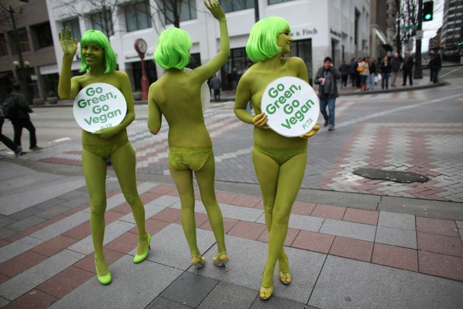 PETA activists Emily Lavender, Julia De Courcy and Tohni Blower shed their clothes for bright green paint at Seattle's Westlake Park on Friday, March 15, 2013. The trio were using the action to bring attention to their advocacy for a vegan diet. (Joshua Trujillo, seattlepi.com)