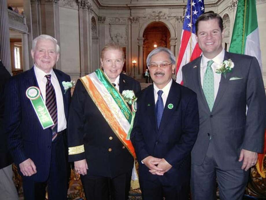 United Irish Societies President Diarmuid Philpott (left) with St. Patrick's Day Parade Grand Marshall and SFFD Chief Joanne Hayes-White, Mayor Ed Lee and Supervisor Mark Farrell at City Hall.