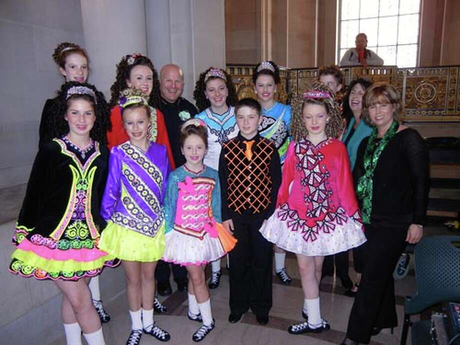 SFPD Chief Greg Suhr with the Whelan-Kennelly Academy of Irish Dance which received a Mayoral Certificate of Honor.