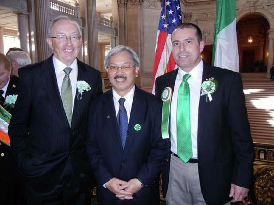 Irish Consul General Gerry Staunton (left) with Mayor Lee and UIS board member Danny Campbell at City Hall.