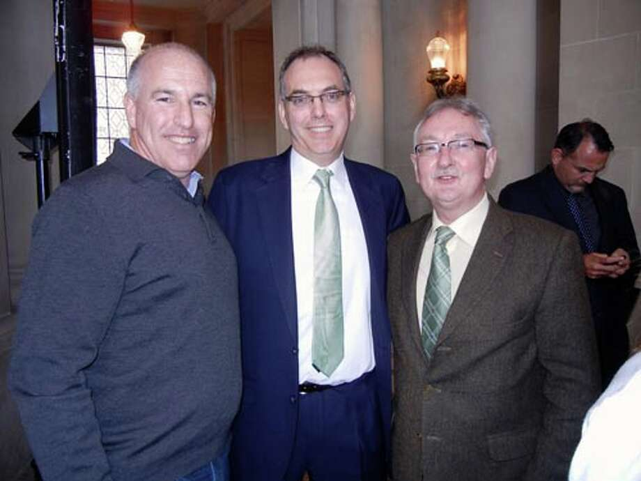 Joe Dugan (left) with Sean O'Riordan and John Keogan at City Hall.
