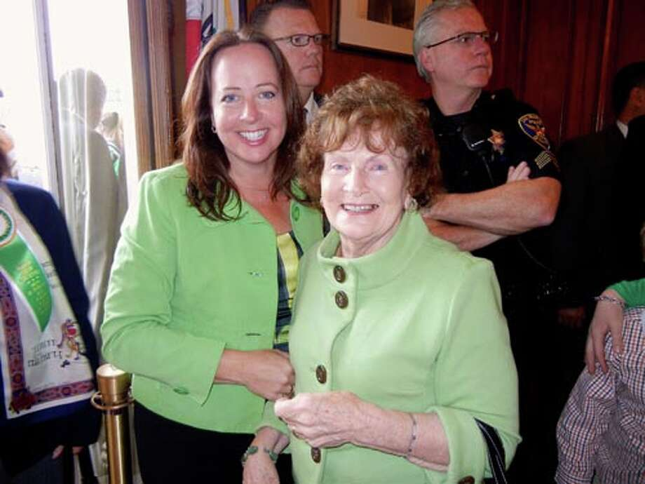 Maureen Shea (left) and her mom, Nora Mullane, at City Hall.