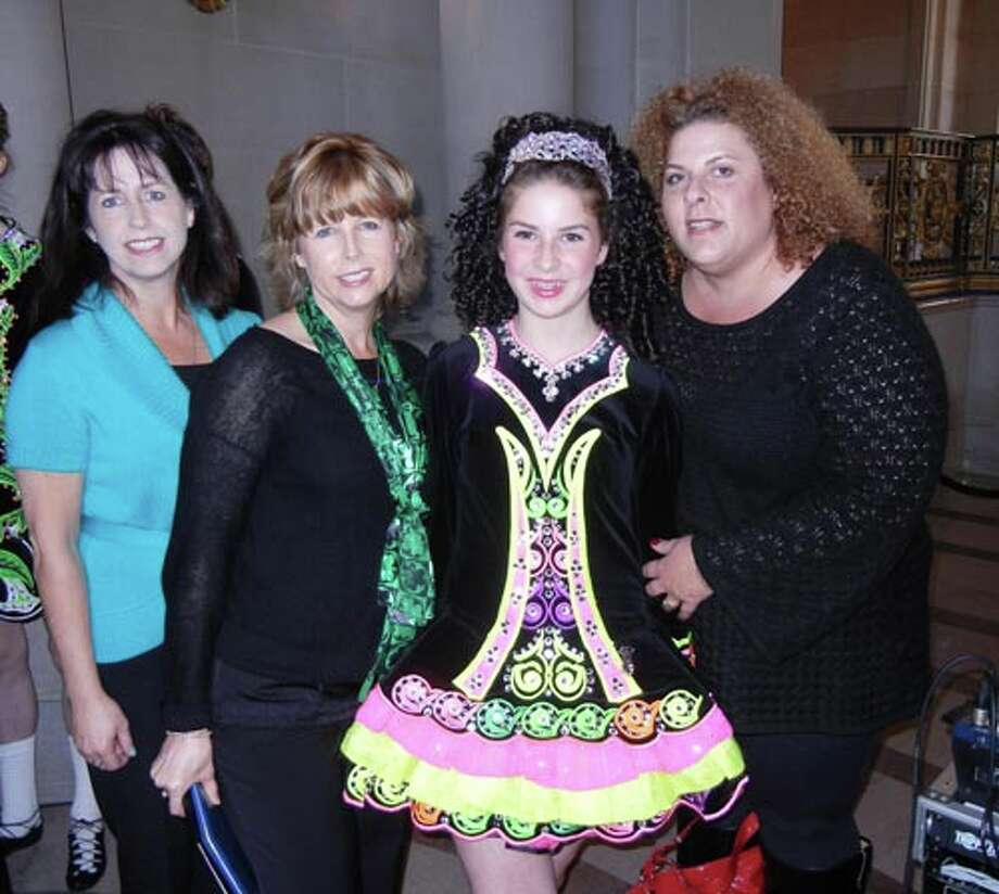 Sheila Whelan (left) with her sister, Sharon MacSweeney, dancer Tara Flynn and her mom, Mary Flynn, at City Hall.