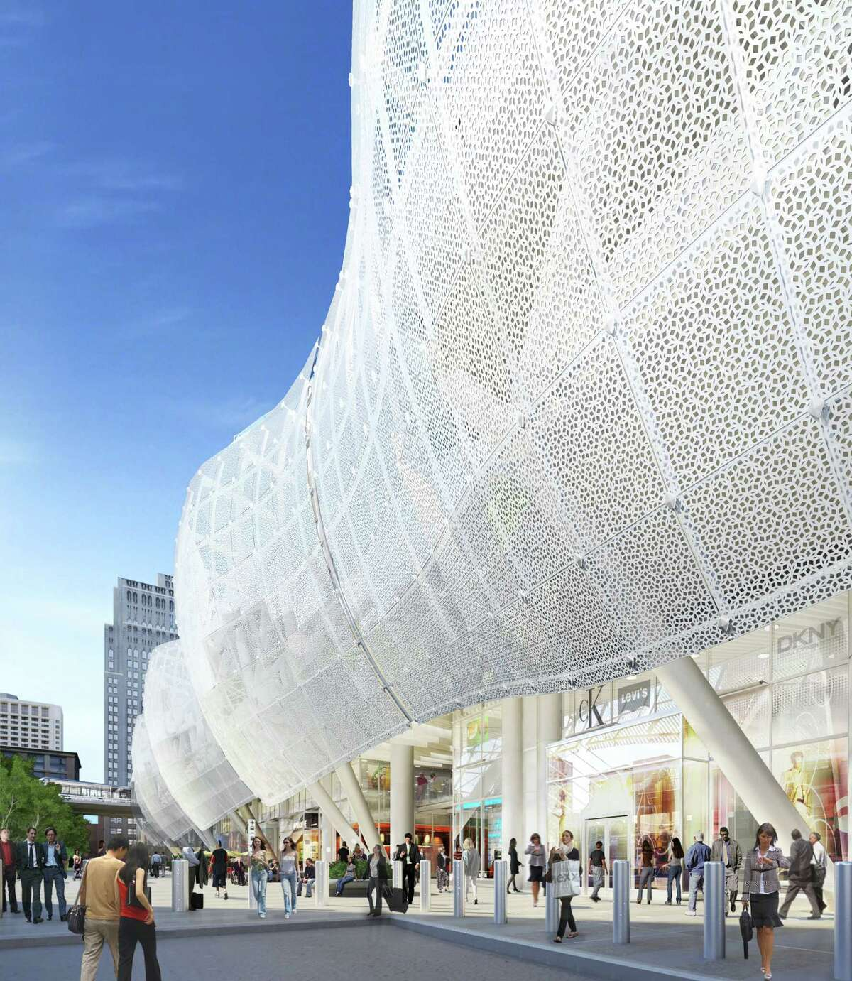 Architects are proposing to add a perforated metal skin to the Transbay Transit Center set to open in 2017. This is a view along Natoma Street of one of the potential cladding systems. It would replace an all-glass skin.