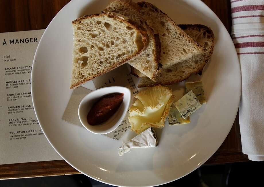 The Assiette de Fromages is a popular choice with wine.  Claudine at the corner of Bush Street and a small alley called Claude Lane features a fun U shaped bar and a wide assortment of wines to sample