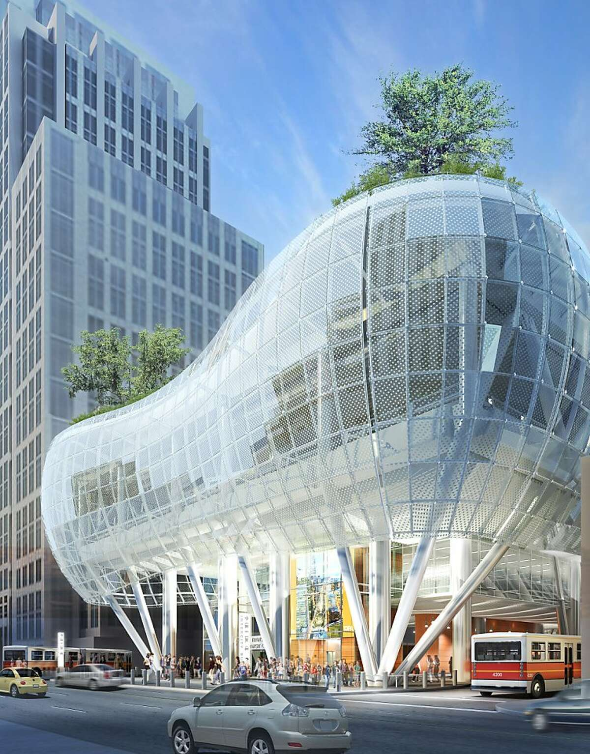 The 2010 design of the new Transbay Transit Center included an all glass skin. A see-through skin of aluminum is now being proposed to trim costs.