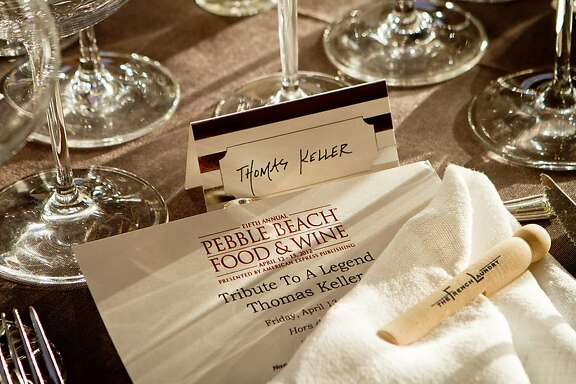 "Thomas Keller's seat at the ""Tribute to Thomas Keller"" dinner at the Pebble Beach Food and Wine event in Pebble Beach, Calif. is seen on Friday April 13h, 2012."