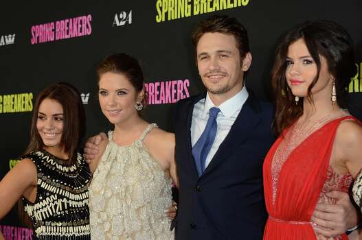 (L-R) Actors Vanessa Hudgen, Ashley Benson, James Franco, and Selena Gomez attend the 'Spring Breakers' Los Angeles Premiere at ArcLight Hollywood on March 14, 2013 in Hollywood, California. Photo: Jason Merritt, Getty Images / 2013 Getty Images