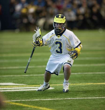Wilton native Mike Francia carries the ball for Michigan. Photo: Martin Vloet, Martin Vloet/University Of Michi / Copyright 2013, © Michigan Photography. ALL RIGHTS RESERVED.  (734) 764-9217. photography.umich.edu