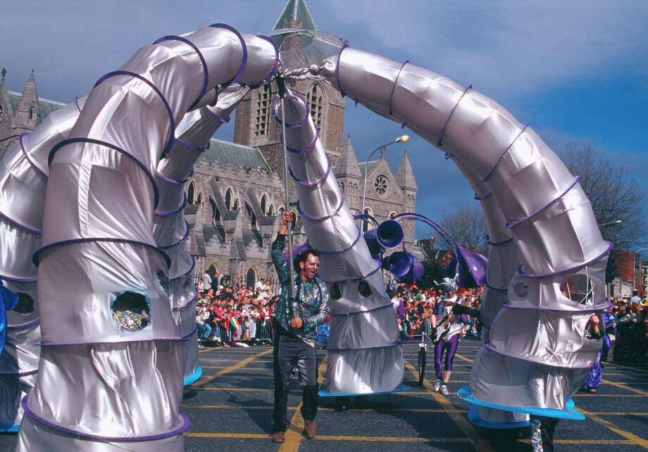 IRELAND: We have no idea what it is, but apparently this silver-and-purple creation at the St. Patrick's Festival Parade, in front of Dublin's Christ Church Cathedral, had some meaning for the patron saint. Photo: DRTA / © DUBLIN REGIONAL TOURISM AUTHORITY AND ITS IMAGE CONTRIBUTORS.  ALL RIGHTS RESERVED.