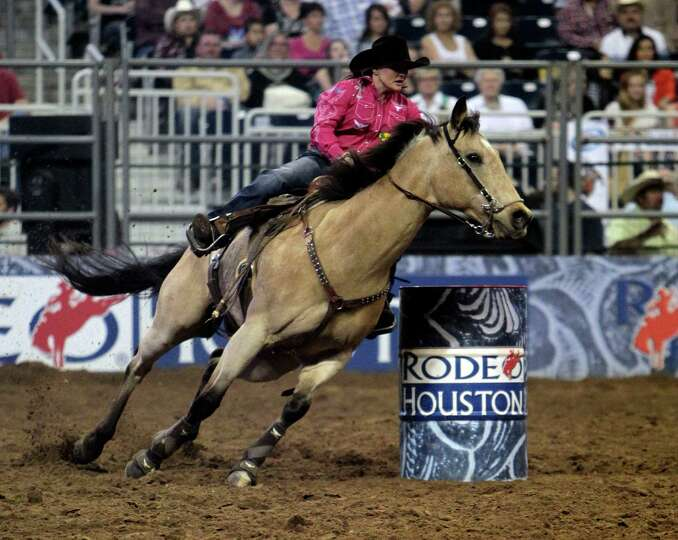 Carlee Pierce competes during the Barrel Racing event at RodeoHouston in Reliant Stadium Friday, Mar