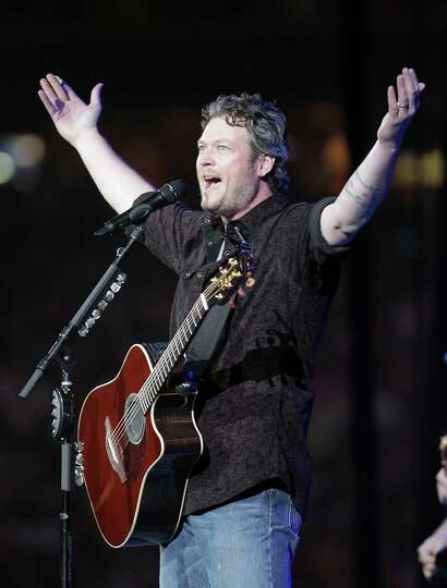 Blake Shelton performs in concert at RodeoHouston in Reliant Stadium Friday, March 15, 2013, in Hous