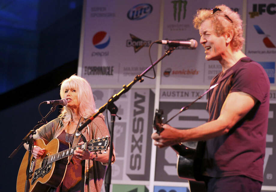 Iron & Wine solo troubadour Samuel Beam, at left, Emmylou Harris and Rodney Crowell, above, and Vampire Weekend, the New York City-based quartet that plays Afro-pop-inspired indie rock, below, were among the bands performing Friday at the Austin Convention Center during South by Southwest. Photo: Photos By Edward A. Ornelas / San Antonio Express-News