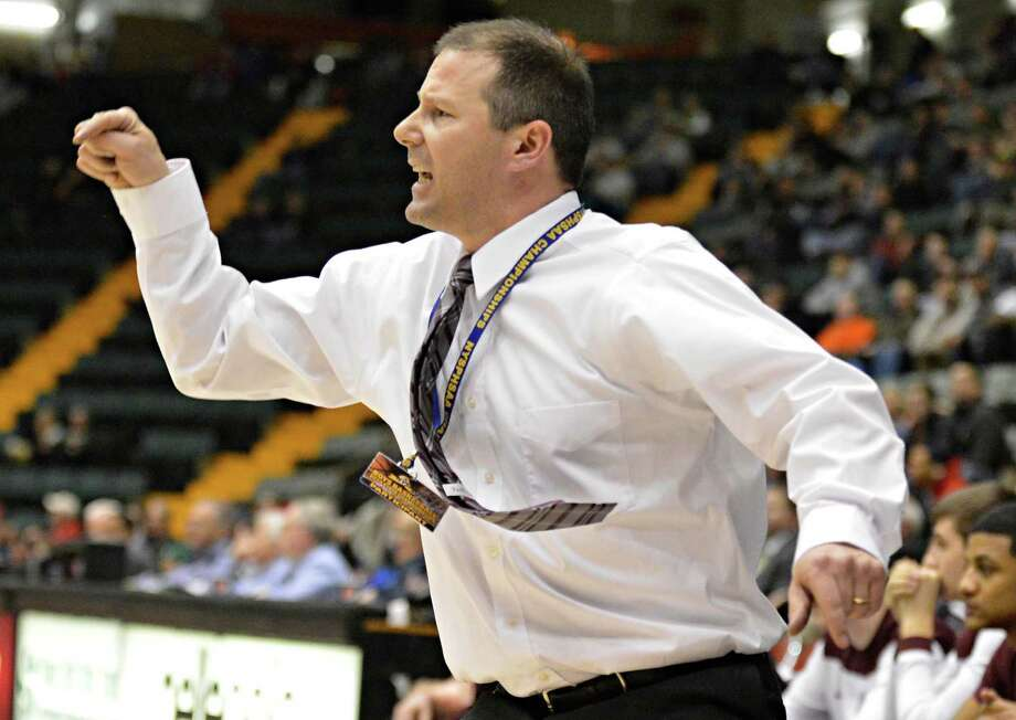 Watervliet coach Orlando DiBacco during the Class B semifinal at Glens Falls Civic Center Friday March 15, 2013.  (John Carl D'Annibale / Times Union) Photo: John Carl D'Annibale