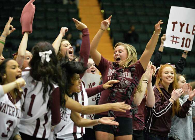 Watervliet react to their win over Batavia in the Class B semifinal at Glens Falls Civic Center Frid