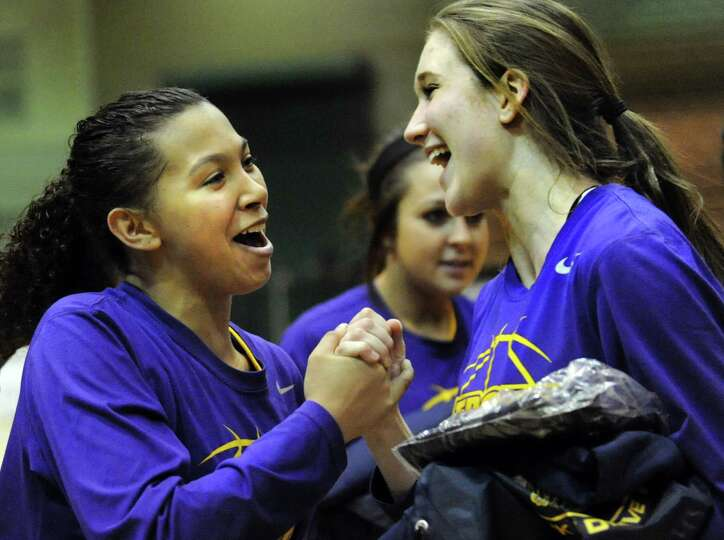 Troy's Kiana Patterson, left, celebrates with Mary Pattison when they win their Class A semifinal st