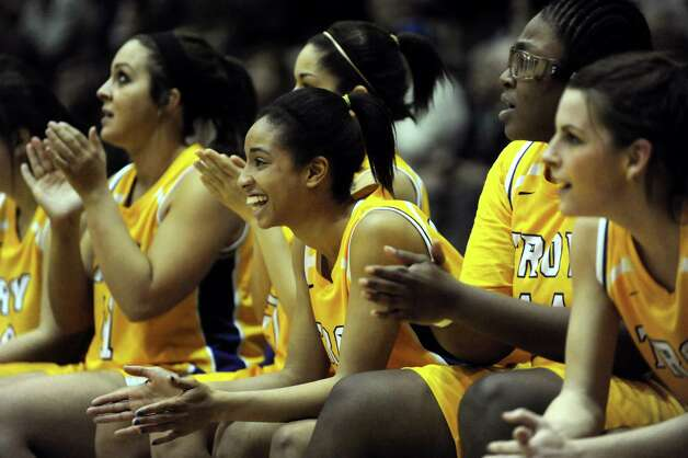 Troy's team cheers from the bench during their Class A semifinal state basketball game against Pittsford Mendon on Friday, March 15, 2013, at Hudson Valley Community College in Troy, N.Y. (Cindy Schultz / Times Union) Photo: Cindy Schultz / 10021543A