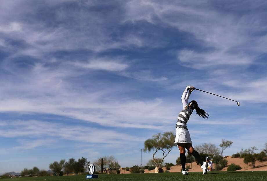 Ai Miyazato of Japan hits a tee shot on the 16th hole during the second round of the RR Donnelley LPGA Founders Cup at Wildfire Golf Club on March 15, 2013 in Phoenix, Arizona.  (Photo by Christian Petersen/Getty Images) Photo: Christian Petersen, Getty Images