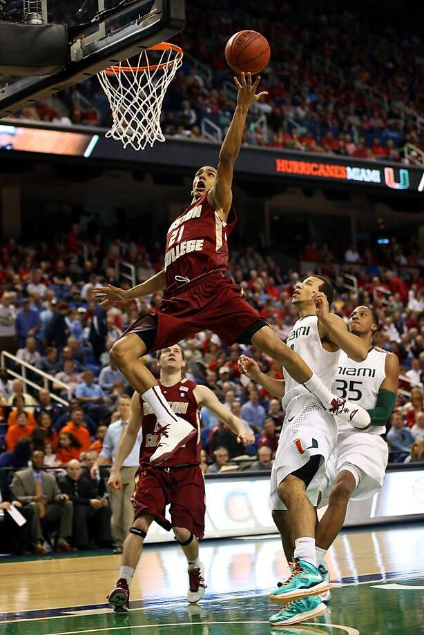 Olivier Hanlan #21 of the Boston College Eagles goes to the basket against the Miami Hurricanes during the quarterfinals of the ACC Men's Basketball Tournament at the Greensboro Coliseum on March 15, 2013 in Greensboro, North Carolina.  (Photo by Streeter Lecka/Getty Images) Photo: Streeter Lecka, Getty Images