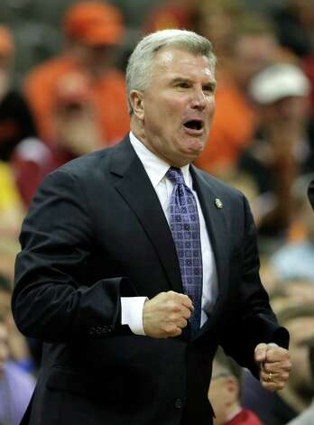Kansas State coach Bruce Weber reacts to a call during the second half an NCAA college basketball game against Oklahoma State in the Big 12 men's tournament Friday, March 15, 2013, in Kansas City, Mo. Kansas State won the game 68-57. (AP Photo/Charlie Riedel) Photo: Charlie Riedel, Associated Press / AP