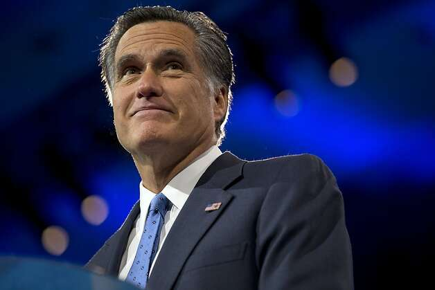 Former Massachusetts Gov., and 2012 Republican presidential candidate, Mitt Romney pauses while speaking at the 40th annual Conservative Political Action Conference in National Harbor, Md., Friday, March 15, 2013.  (AP Photo/Jacquelyn Martin) Photo: Jacquelyn Martin, Associated Press