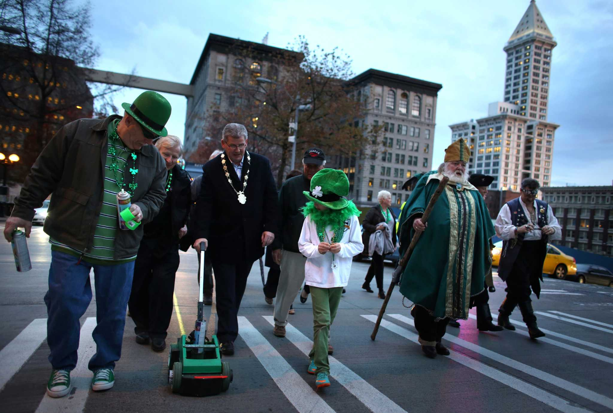 Irish paint seattle street green for st patrick s day newstimes
