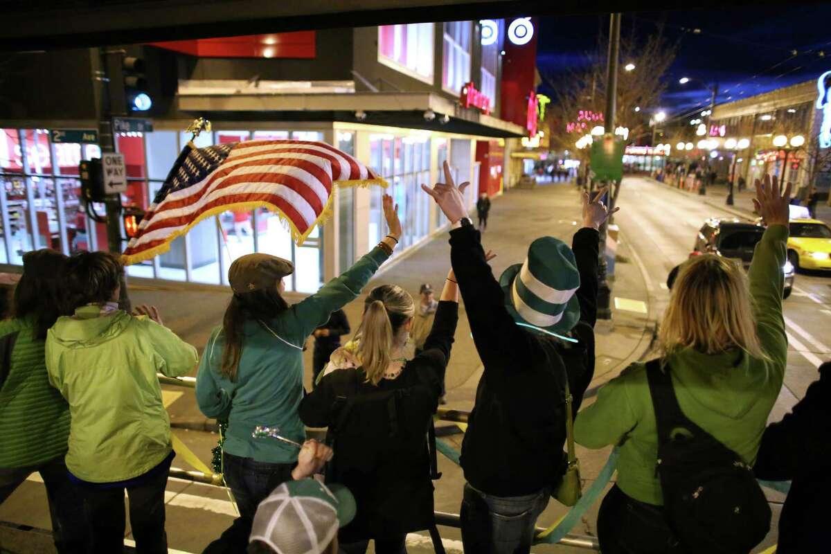Participants march along.