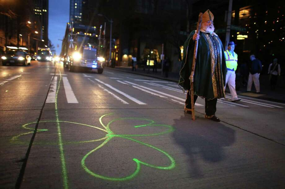 William Patrick Kiley, 71, marches along dressed as Saint Patrick — something he has done for 44 years. Photo: JOSHUA TRUJILLO / SEATTLEPI.COM