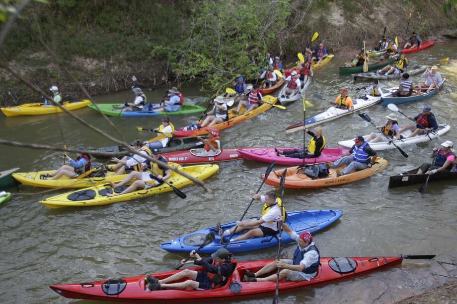 Boats in the water as the Buffalo Bayou Regatta gets underway Saturday, March 16, 2013 in Houston. At least 500 boats are participating in the 15 mile race. (Melissa Phillip / Houston Chronicle)