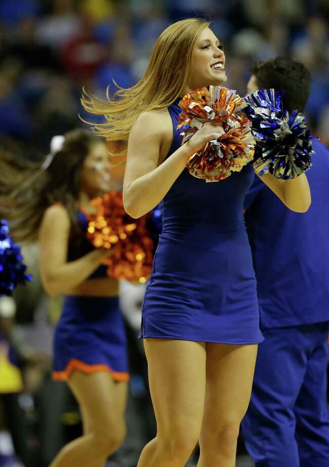 Florida cheerleaders perform against the LSU during the second half of an NCAA college basketball game at the Southeastern Conference tournament, Friday, March 15, 2013, in Nashville, Tenn. (AP Photo/John Bazemore) Photo: John Bazemore, Associated Press / AP