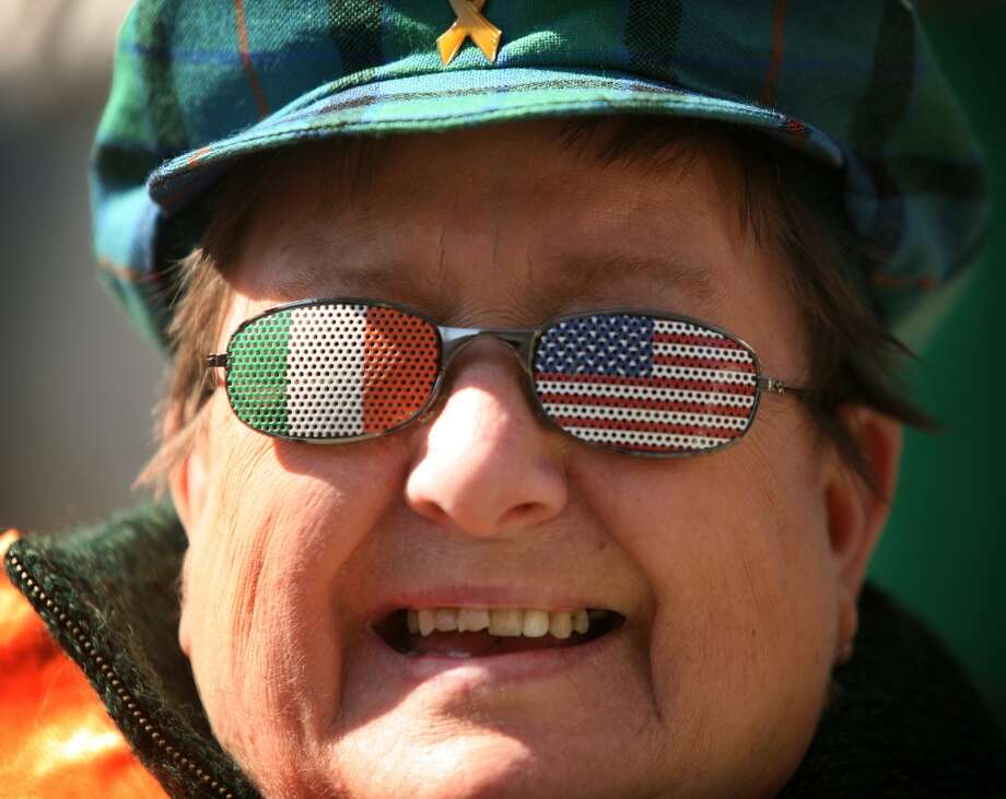 No. 28: Derby.The town of Derby has the third smallest percentage of resident claiming an Irish ancestry in Southwestern Connecticut, at 10.9 percent. Pat Gerckens of Derby watches the Bridgeport St. Patrick's Day Parade through eyeglasses decorated with Irish and American flags on Main Street in downtown Bridgeport on Wednesday, March 17, 2010.