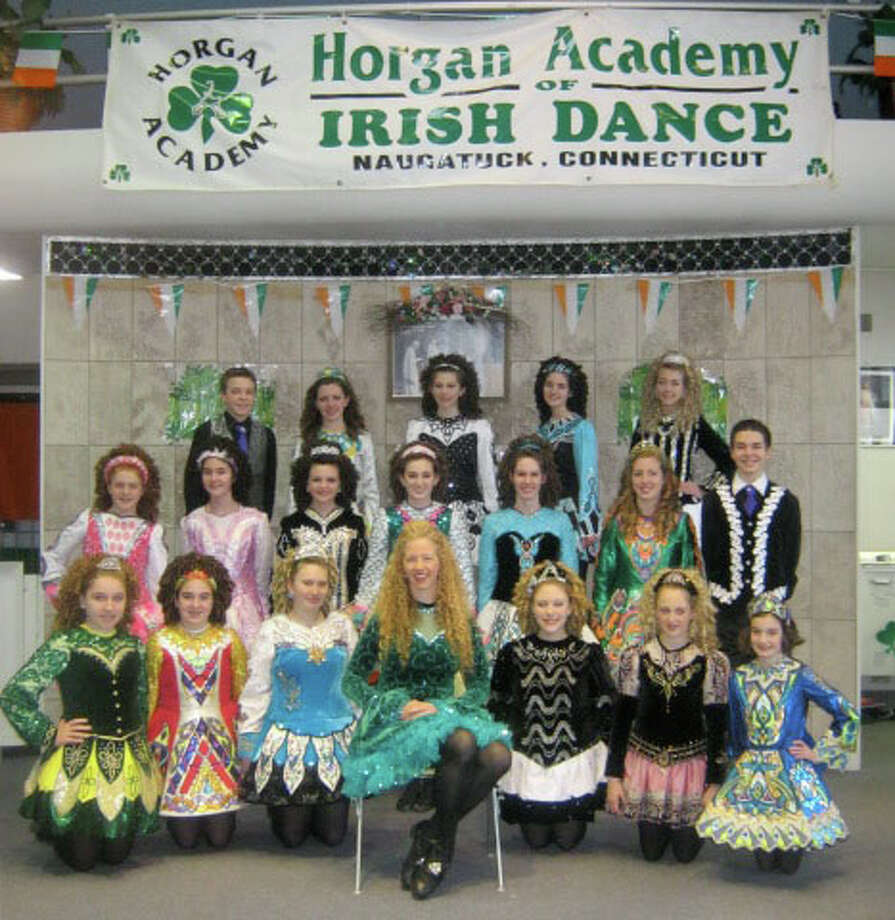 No. 19: Naugatuck. The town of Naugatuck has the 19th largest percentage of resident claiming an Irish ancestry in Southwestern Connecticut, at 19 percent. These are the 2012 prize-winning Star Troupe dancers, shown with choreographer Irene Horgan, front and center, of the Horgan Academy. The academy will host a free Open Tea House Friday, March 16 with WATR-1320 AM radio broadcasting live from the Maura Gill Horgan Irish Centre at 198 Meadow St. in Naugatuck from 6:30 to 9:30 a.m. Among area performances, the Horgan Academy will be at Nunnawauk Meadows in Newtown March 21 at at 3:15 p.m. For more information and a list of performances, call 203-723-0568, e-mail HorganAcademy@yahoo.com or visit www.HorganAcademy.webs.com. Photo: Contributed Photo / The News-Times Contributed