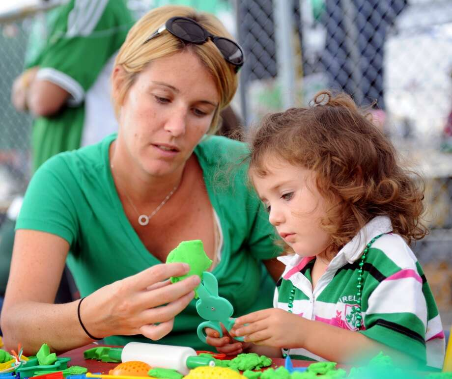 No. 17: Shelton. The town of Shelton has the 17th largest percentage of resident claiming an Irish ancestry in Southwestern Connecticut, at 19.5 percent. Riley O'Hanlon, 2, of Shelton, and her mother, Erin, make shapes with green Play-Dough during the fifth annual Milford Irish Festival at the Fowler Rotary Pavilion on Saturday, September 18, 2010.