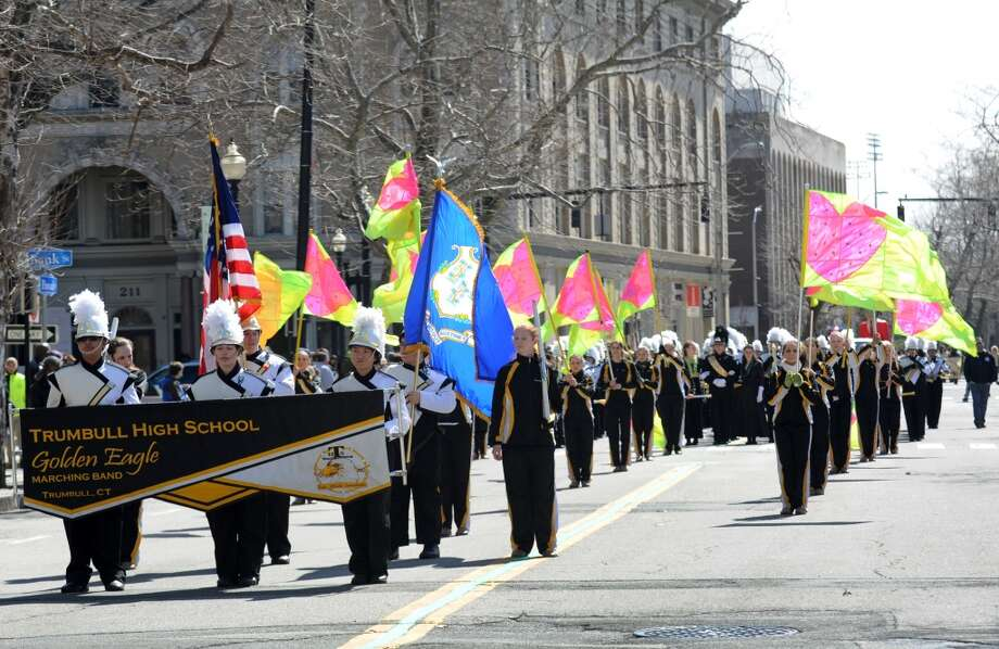 No. 12: Trumbull.The town of Trumbull has the 12th largest percentage of resident claiming an Irish ancestry in Southwestern Connecticut, at 22.4 percent. The Trumbull High School marching band in the annual St. Patrick's Day parade in downtown Bridgeport, Conn. on Friday March 15, 2013.