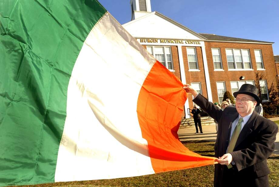 No. 8: Bethel.The town of Bethelhas the eighth largest percentage of resident claiming an Irish ancestry in Southwestern Connecticut, at 23.5 percent. Matt Knickerbocker, first selectman, performs the flag raising ceremony in honor of St. Patrick's Day at the Municipal Center in Bethel Thursday, March 17, 2011.