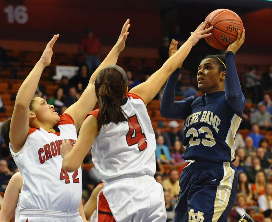 Class M girls basketball final action between Notre Dame of Fairfield and Cromwell at the Mohegan Sun Arena in Uncasville, Conn. on Friday March 15, 2013.