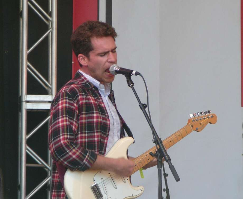 Parquet Courts guitarist and singer Andrew Savage plays the opening set at the Spin party at Stubb's on Friday afternoon. Photo: Jim Kiest / San Antonio Express-News