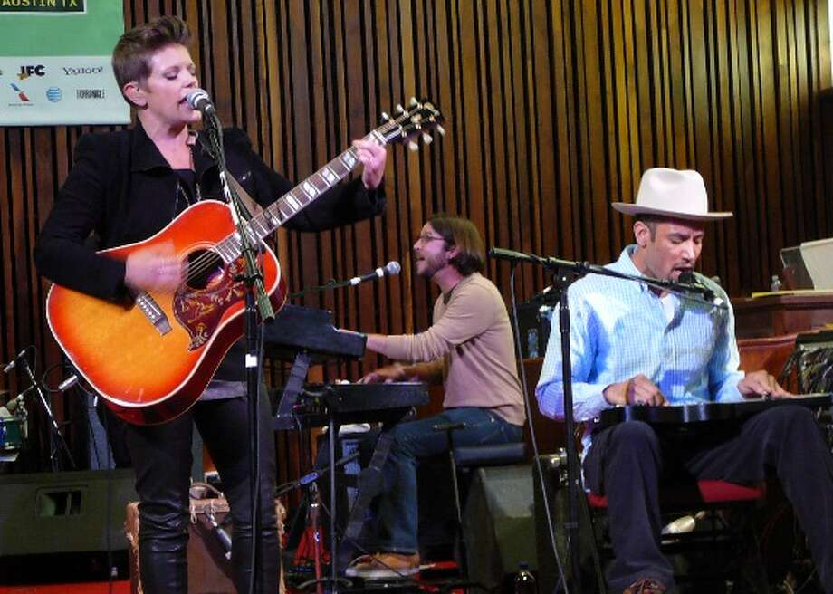 "Dixie Chicks singer Natalie Maines, with musician Ben Harper, played her forthcoming solo CD ""Mother"" from start to finish Friday at Central Presbyterian Church. Photo: Jim Kiest / San Antonio Express-News"