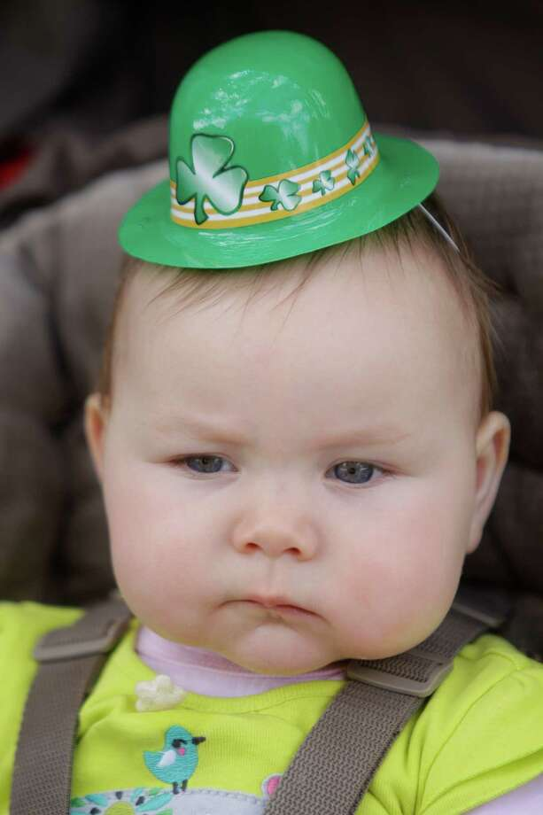 Mattie Hylin, 8-months-old of Houston, shows her Irish spirit with a hat during the 54th annual Houston St. Patrick's Day Parade Saturday, March 16, 2013, in Houston. Photo: Melissa Phillip, Houston Chronicle / © 2013  Houston Chronicle