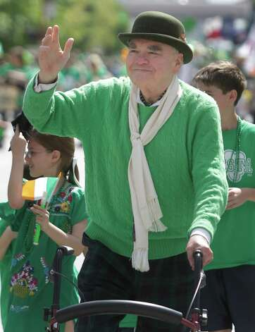 Tom Horan walks during the during the 54th annual Houston St. Patrick's Day Parade Saturday, March 16, 2013, in Houston. He says this is his 50th and final appearance in the annual St. Patrick's Day parade. Photo: Melissa Phillip, Houston Chronicle / © 2013  Houston Chronicle