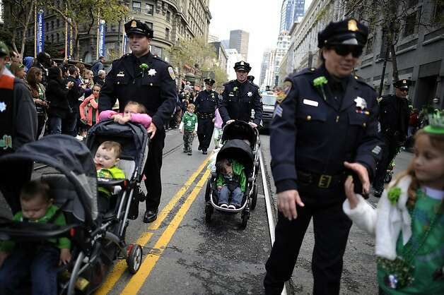 Members of the SFPD push thier children in strollers as they march in the annual St. Patrick's Day Parade in San Francisco, Saturday March 16th, 2013. Photo: Michael Short, Special To The Chronicle