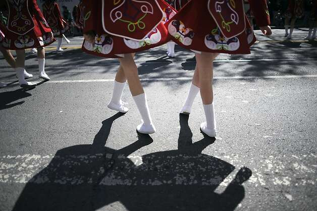 Dancers with the Keenan Irish Dance School work their way down Market St. during the annual St. Patrick's Day Parade in San Francisco, Saturday March 16th, 2013. Photo: Michael Short, Special To The Chronicle