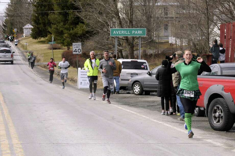 Runners take part in the 2 Annual Great Kilt Race on Saturday March 16, 2013 in Averill Park, N.Y. (Michael P. Farrell/Times Union) Photo: Michael P. Farrell
