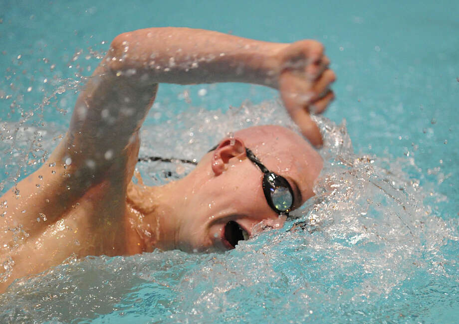 Tom McNamara of Pomperaug swims the 200 freestyle during the State Open swimming championships at Yale University, New Haven, Conn., Saturday, March 16, 2013. Photo: Bob Luckey / Greenwich Time