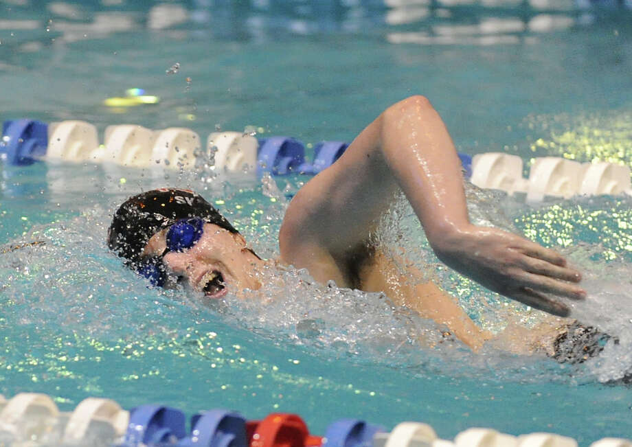 Stephen Skaperdas of New Canaan competes in the 200 freestyle event durng the State Open swimming championships at Yale University, New Haven, Conn., Saturday, March 16, 2013. Photo: Bob Luckey / Greenwich Time