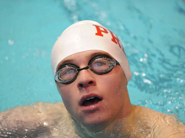 Bryce Keblish of Fairfield Prep after competing in the 100 butterfly event State Open swimming championships at Yale University, New Haven, Conn., Saturday, March 16, 2013. Photo: Bob Luckey / Greenwich Time