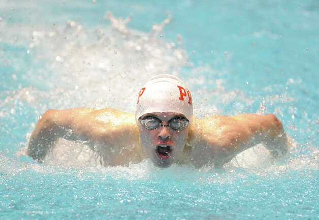 Bryce Keblish of Fairfield Prep competes in the 100 butterfly event State Open swimming championships at Yale University, New Haven, Conn., Saturday, March 16, 2013. Photo: Bob Luckey / Greenwich Time