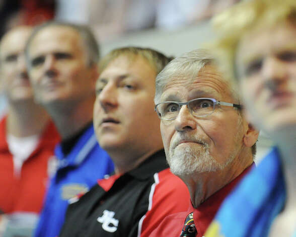 Greenwich High School swim coach Terry Lowe during the State Open swimming championships at Yale University, New Haven, Conn., Saturday, March 16, 2013. Photo: Bob Luckey / Greenwich Time